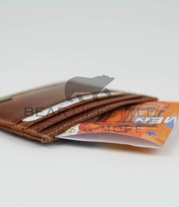 Bear Design Dunne Pasjeshouder RFID - QN2007 Cognac