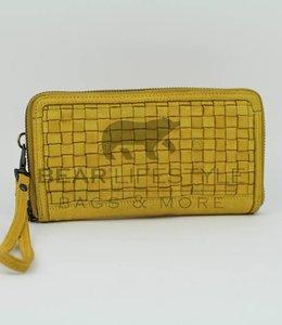 Bear Design Rits Portemonnee gevlochten - CL13994 Geel