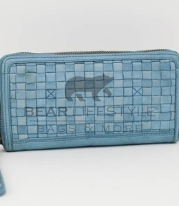 Bear Design Gevlochten Portemonnee - Baby Blauw CL13994