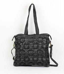 Gevlochten Shopper met Schouderband - GR6219 Zwart