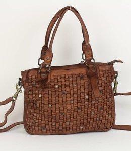 Bear Design Schulter-/Handtasche GR7010 Cognac/Nieten