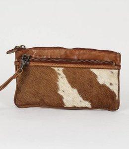 Bear Design Clutch / Geldbörse Tasche CL13997 Cow Cognac