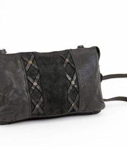 Bear Design Portemonnee-Tasje Groot - Zwart Suede/Lavato