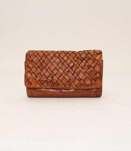 Bear Design Overslag portemonnee Gevlochten - Cognac CL14614