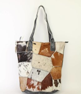 Bear Design Shopper Cow Vakjes -  Grijs BU2087