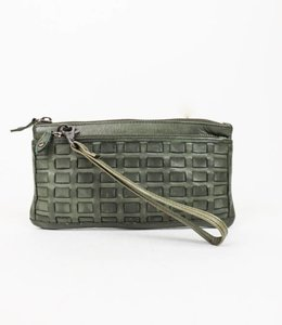 Bear Design Clutch / Portemonnaie Tasche Grün CL13997 Woven