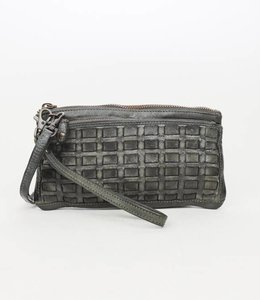 Bear Design Clutch / Portemonnaie Tasche Grau CL13997 Woven