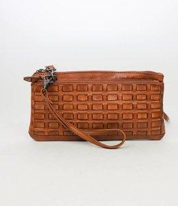 Bear Design Clutch / Portemonnaie Tasche Cognac CL13997 Woven