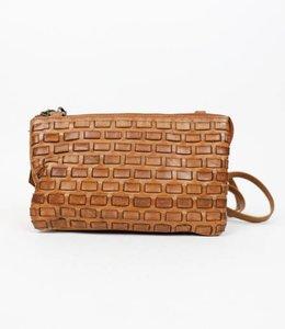 Bear Design Portemonnee tasje XL Woven - Cognac CL30996