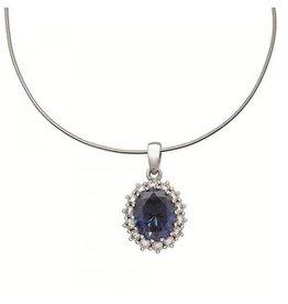 Diamonfire Diamonfire - Zilveren hanger - Inclusief collier 45 cm - Korenbloemblauwe diamonfire steen - Zirkonia