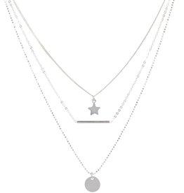 Zilveren collier - Ster, staaf, plaatje