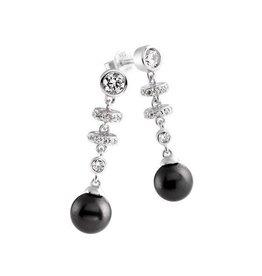 Diamonfire Diamonfire - Zilveren oorhangers - Zirkonia - Zwarte parel