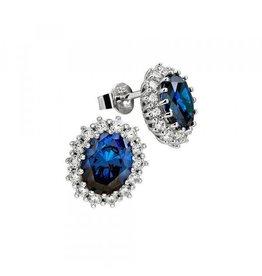 Diamonfire Diamonfire - Zilveren oorknoppen - Fantasie - Korenbloemblauwe diamonfire steen - Zirkonia