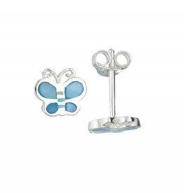 van Leeuwen Zilveren kinderoorknoppen - Blauwe vlinder