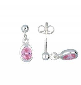 van Leeuwen Zilveren kinderoorknoppen - Roze zirkonia