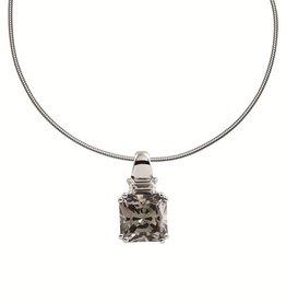 Diamonfire Diamonfire - Zilveren hanger - Inclusief collier 45 cm - Grijze steen