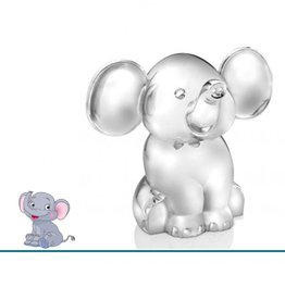 Zilverstad Geboortecadeau - Verzilverde spaarpot - Zittende olifant