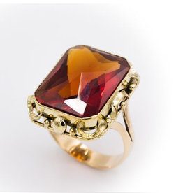 Occasions by Marleen Occasions by Marleen- Gouden ring - Synthetisch Paparatsja - Maat 20 ¼