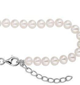Kasius Parel collier - Zoetwaterparel - Zilver - Gerhodineerd -  42-45 cm - 5.5 mm
