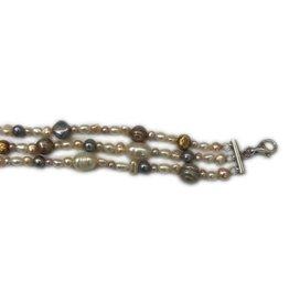 Parel collier - Zoetwaterparel - 3 rij - 43+5 cm - Sluiting onedel