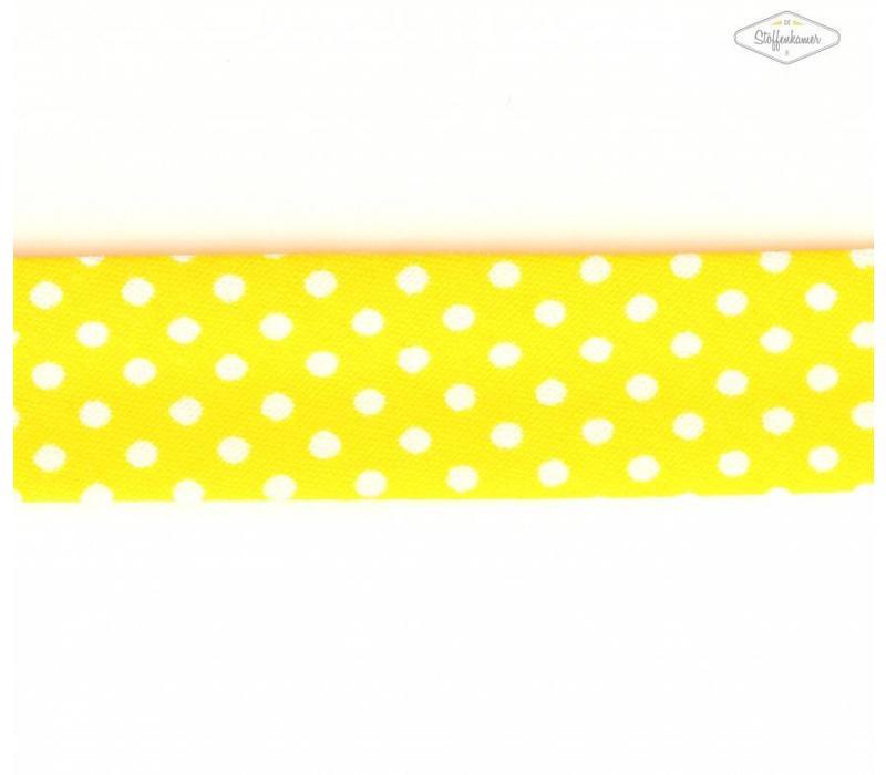 Biaisband geel met stipjes