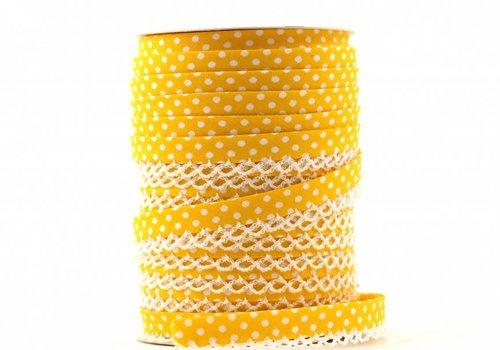 De Stoffenkamer Biaisband met kantje geel met stipjes