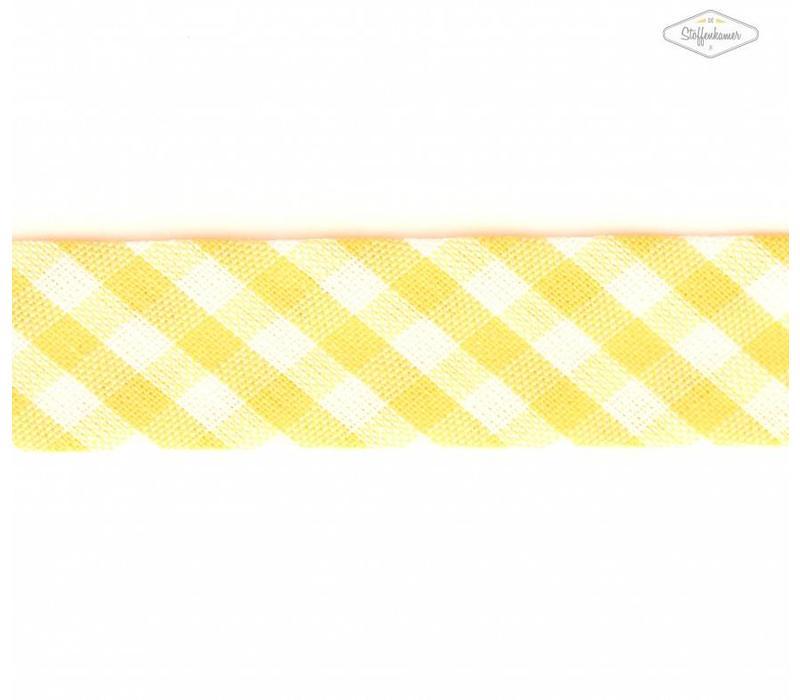 Biaisband geel met ruitjes