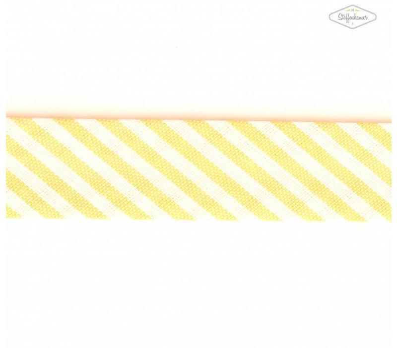 Biaisband geel met streepjes