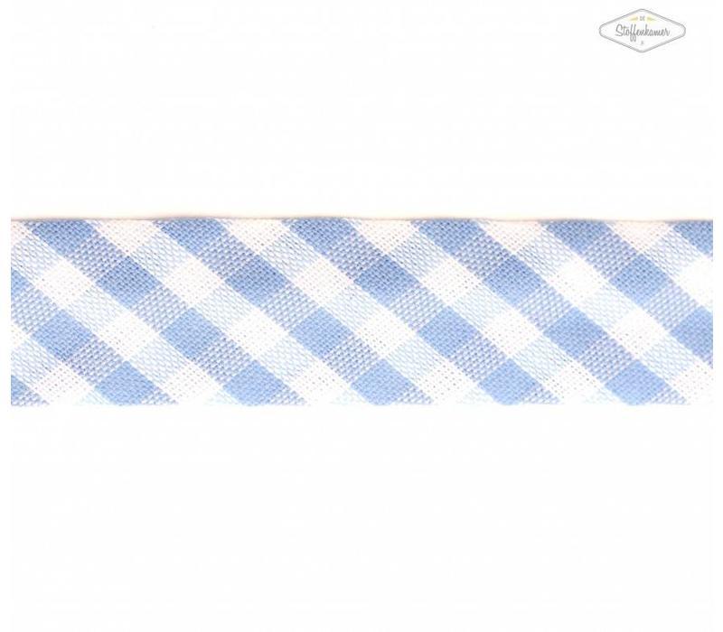 Biaisband lichtblauw met ruitjes