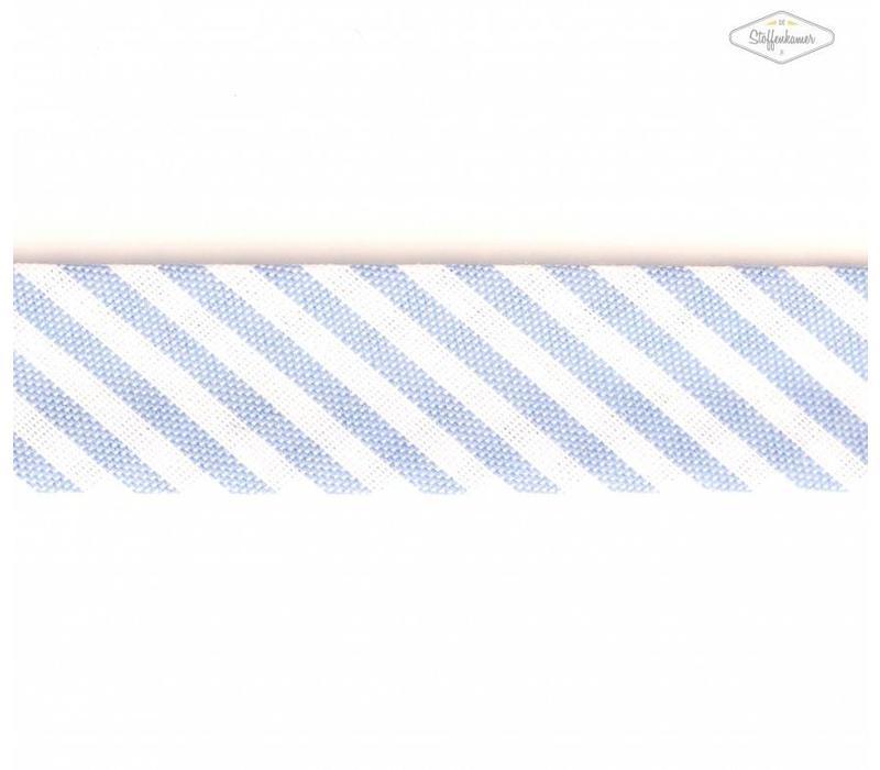 Biaisband lichtblauw met streepjes