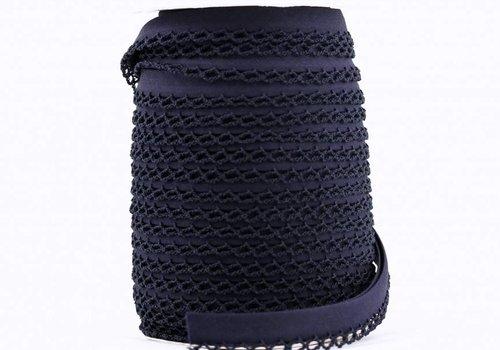 De Stoffenkamer Biaisband met kantje donkerblauw