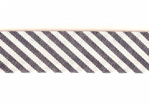 De Stoffenkamer Biaisband donkerblauw met streepjes