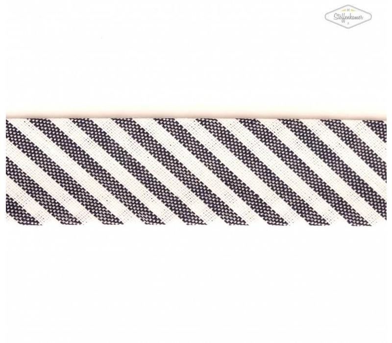Biaisband donkerblauw met streepjes
