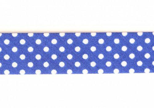 De Stoffenkamer Biaisband kobaltblauw met stipjes