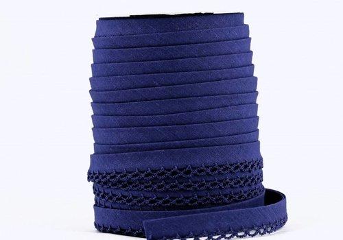 De Stoffenkamer Biaisband met kantje kobaltblauw