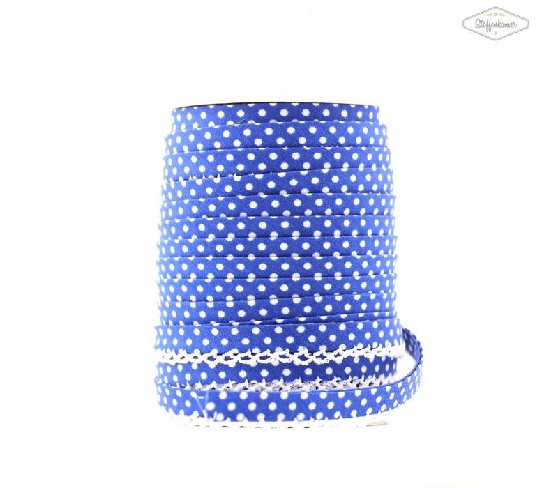 Biaisband met kantje kobaltblauw met stipjes
