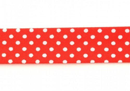 De Stoffenkamer Biaisband rood met stipjes