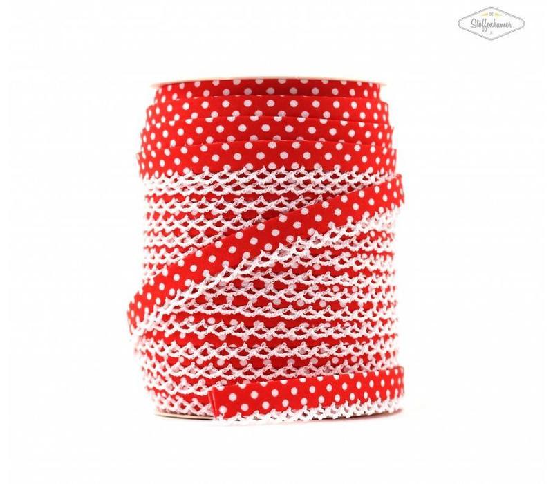 Biaisband met kantje rood met stipjes