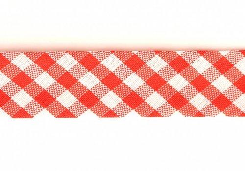 De Stoffenkamer Biaisband rood met ruitjes