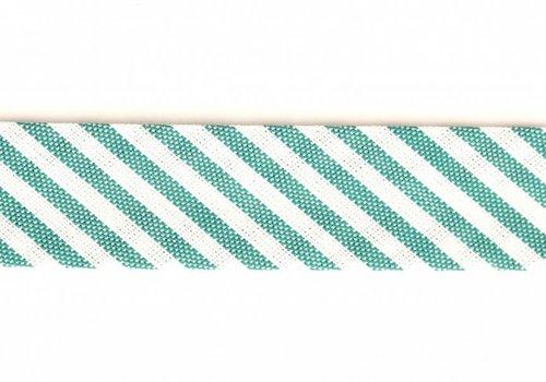 De Stoffenkamer Biaisband groen met streepjes