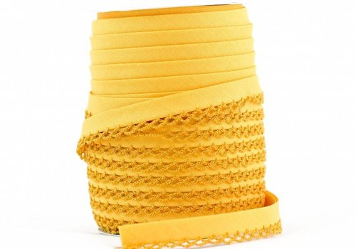 De Stoffenkamer Biaisband met kantje zonnegeel