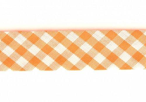 De Stoffenkamer Biaisband oranje met ruitjes