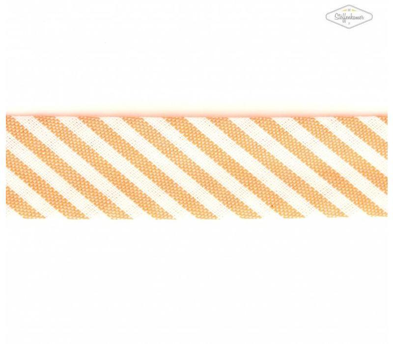 Biaisband oranje met streepjes