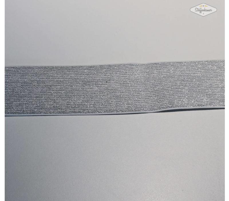 Glitter Elastiek lichtgrijs 5cm