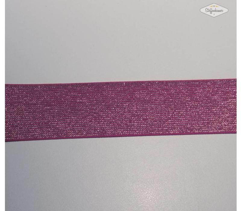 Glitter Elastiek fuchsia 5cm