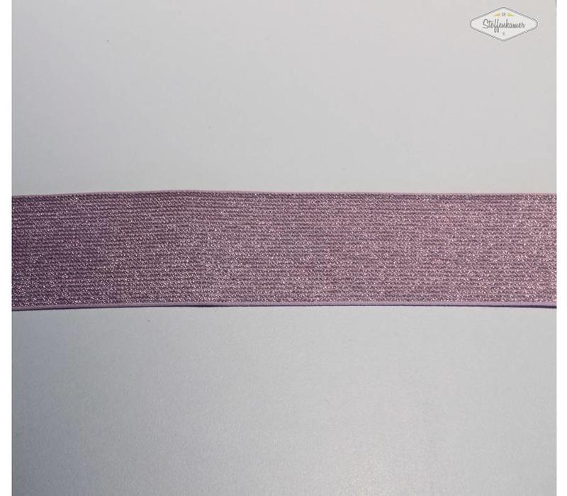 Glitter Elastiek lichtroze 5cm