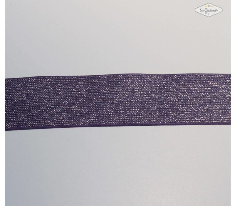 Glitter Elastiek lila 5cm