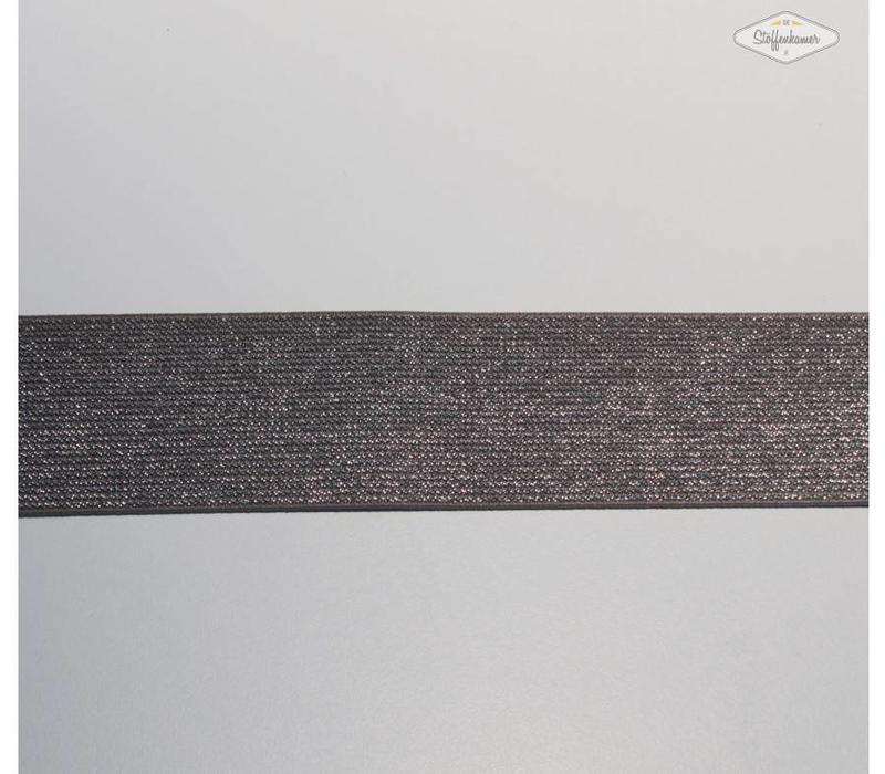 Glitter Elastiek beigebruin 5cm