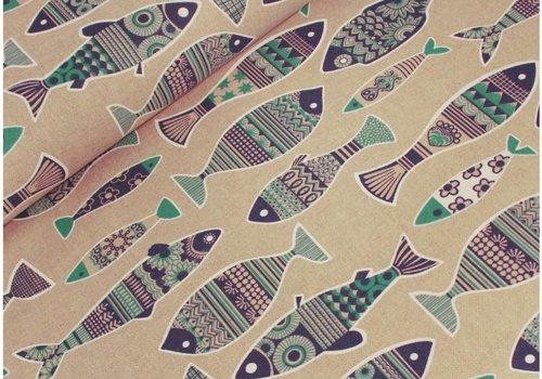 De Stoffenkamer Geweven Canvas Fish
