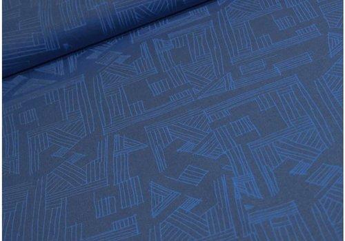 Robert Kaufman Linen Mix Geo Blue
